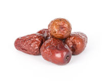 Red dates. Chinese red dates on the white background Royalty Free Stock Photos