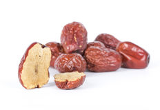 Red dates. Chinese red dates on the white background Royalty Free Stock Image