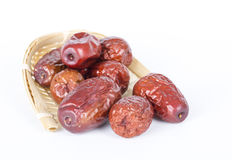 Red dates. Chinese red dates on the white background Stock Photography