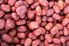 Red Dates. A stack of red dates, also known as jujubes or Chinese dates Stock Photography