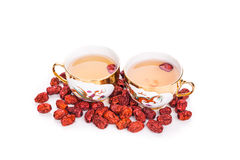 Red dates tea served in traditional Chinese tea cups Royalty Free Stock Photography