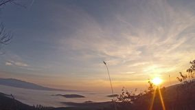 Red Dawn Panning 4K Quad Time Lapse. Ultimate Red Dawn Panning 4K Quad Time Lapse, Mountain Range fog stock video footage