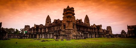 Red Dawn Sunrise at Angkor Wat from the back wall Stock Photos