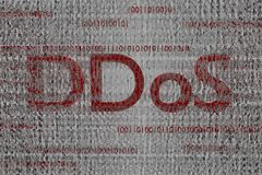 Red ddos text binary cloud infected code 3d render background royalty free stock image