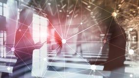 Red de Blockchain en fondo borroso de los rascacielos Concepto financiero de la tecnolog?a y de la comunicaci?n fotografía de archivo