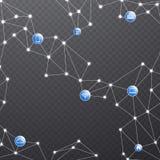 Red de comunicaciones inalámbrica con los dispositivos conectados Fotos de archivo