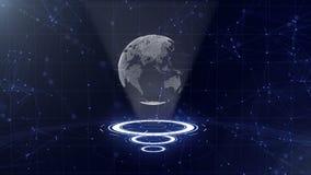 Red de datos Tierra de alrededor del planeta en tres c?rculos de colocaci?n Asignaci?n del centro 3d Cierre para arriba Copie el  libre illustration