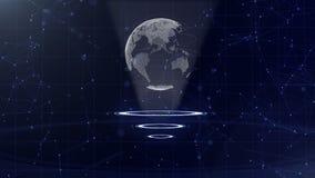 Red de datos Tierra de alrededor del planeta en tres c?rculos de colocaci?n Asignaci?n del centro Visi?n superior 3d Cierre para  stock de ilustración
