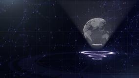 Red de datos Tierra de alrededor del planeta en tres c?rculos de colocaci?n Asignaci?n correcta 3d Cierre para arriba Copie el es ilustración del vector