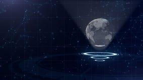 Red de datos Tierra de alrededor del planeta en tres c?rculos de colocaci?n Asignaci?n correcta 3d Cierre para arriba Copie el es almacen de metraje de vídeo