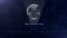 Red de datos Tierra de alrededor del planeta en tres c?rculos de colocaci?n Asignaci?n correcta 3d Cierre para arriba Copie el es stock de ilustración