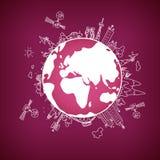 Red de información global en el globo, ejemplo del vector Imagen de archivo libre de regalías