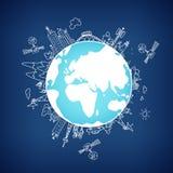 Red de información global en el globo, vector Imagen de archivo libre de regalías