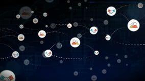 Red de la animación de la gente que se une a y de la cooperación del socio del trabajo en equipo que crece rápidamente en medios  ilustración del vector