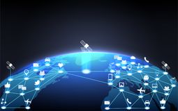 Red de la nube de la comunicación global alrededor de la tierra del planeta Concepto ilustración del vector