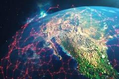 red de la representación 3D y de intercambio de datos sobre la tierra del planeta en espacio El concepto de contaminación de la t Foto de archivo