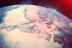 red de la representación 3D y de intercambio de datos sobre la tierra del planeta en espacio El concepto de contaminación de la t Foto de archivo libre de regalías