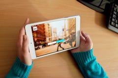 Red de LinkedIn en la tableta digital Fotografía de archivo