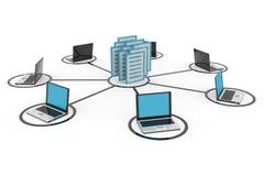 Red de ordenadores abstracta con las computadoras portátiles. libre illustration