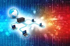 Red de ordenadores aislada en fondo de la tecnolog?a Conexi?n de red, fondo de Internet 3d rinden stock de ilustración