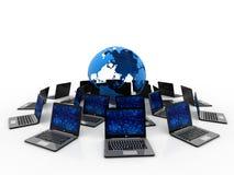 Red de ordenadores, comunicación de Internet, aislada en el fondo blanco representación 3d fotografía de archivo