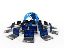 Red de ordenadores, comunicación de Internet, aislada en el fondo blanco representación 3d imagen de archivo libre de regalías
