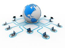 Red de ordenadores, comunicación de Internet, aislada en el fondo blanco representación 3d foto de archivo libre de regalías