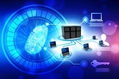 Red de ordenadores, comunicación de Internet en fondo de la tecnología representación 3d ilustración del vector
