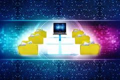 Red de ordenadores, comunicación de Internet en fondo de la tecnología representación 3d stock de ilustración