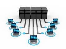 Red de ordenadores, comunicación de Internet en fondo de la tecnología representación 3d libre illustration