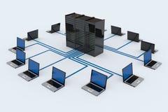 Red de ordenadores con el servidor