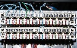 Red de ordenadores de la tecnología de la información, cables de Ethernet de la telecomunicación Fotografía de archivo libre de regalías