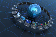 Red de ordenadores global. ilustración del vector