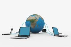 Red de ordenadores global. Concepto del Internet. ilustración del vector