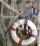 Red de pesca en Camogli en Riviera ligur Imágenes de archivo libres de regalías