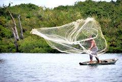 Red de pesca en el Amazonas Fotos de archivo