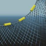 Red de pesca en fondo del mar ilustración del vector