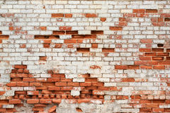 Red decaying brick wall outdoors Royalty Free Stock Photos