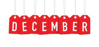 Red december tag. A red december tag set Stock Illustration
