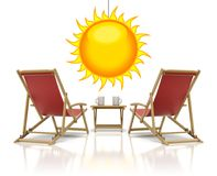 Red deck chairs Stock Photo