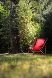 Red deckchair Stock Image