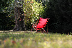 Red deckchair Stock Photos