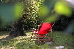 Red deckchair Stock Photo