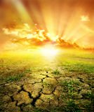 Red decline in desert. The heated cracked earth against a red decline royalty free stock photo