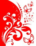 Red decor and butterflies stock photography