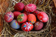 Red decorated Easter eggs royalty free stock photo