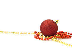 Red Decoration ball and golden beads Royalty Free Stock Image