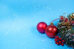 Red decoration baubles and Christmas wreath royalty free stock images
