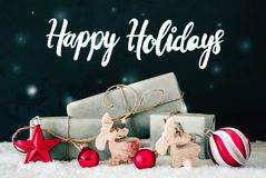 Red Decoration, Calligraphy Happy Holidays, Snowflakes, Snow royalty free stock images