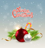Red decoration and candy cane Royalty Free Stock Image
